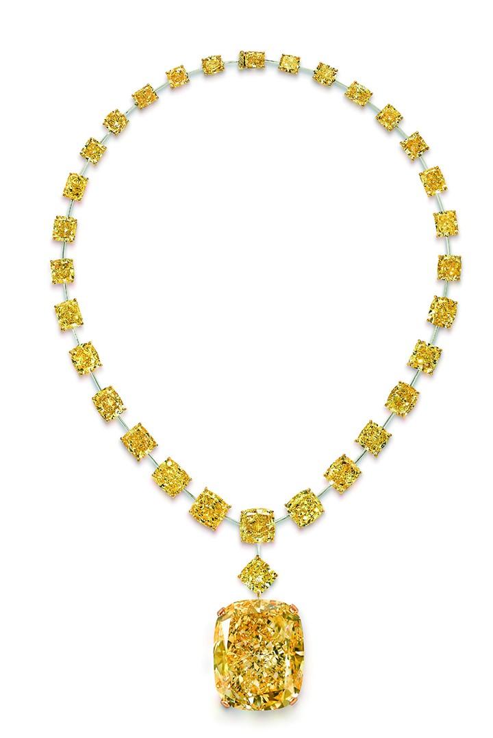Graff 黄钻项链,镶有The Golden Empress 枕形浓彩黄钻