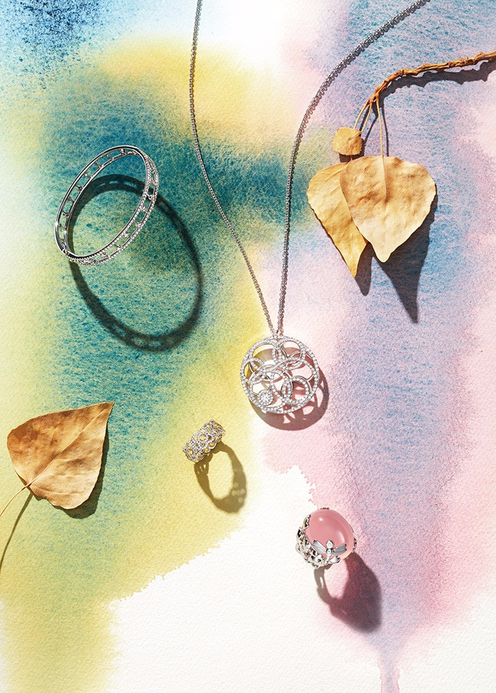 从左至右: De Beers Dewdrop 钻石手镯 De Beers Enchanted Lotus 炫彩黄钻戒指 De Beers Atea 单颗美钻链坠 Dior 高级珠宝 Gourmande系列戒指