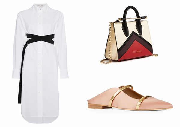 Proenza Schouler 长袖衬衫裙、The Strathberry、Malone Souliers